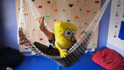 Sponge Bob helps with the swinging.